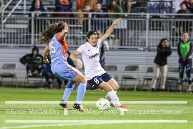 Allysha Chapman, left, defends fellow Canadian Diana Matheson last May. Chapman was traded to the Boston Breakers on Tuesday (photo copyright EriMac Photo from The Equalizer)