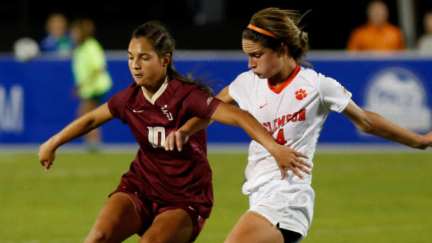 Deyna Castellanos fights for the ball against Clemson in FSU's ACC semifinal win. (photo courtesy of Mic Smith and the ACC)