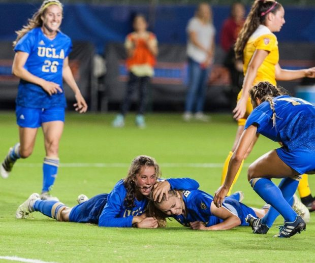 Jessie Fleming and Annie Alvarado celebrate Alvarado's goal against USC. (photo courtesy of UCLA Instagram)