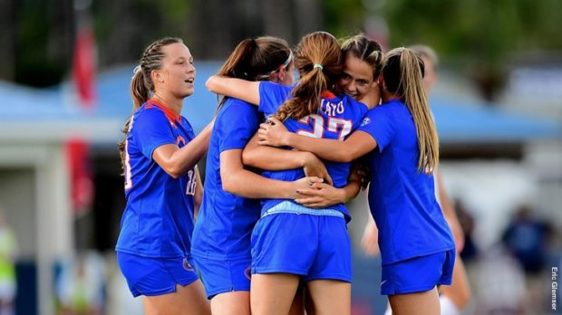The Florida Gators celebrate their 1-0 win over the South Carolina Gamecocks. (photo courtesy of Eric Glemser and University of Florida)