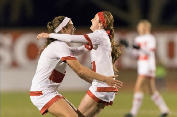 Rose Lavelle celebrates her game winner in Wisconsin's 1-0 win over Marquette (photo courtesy of University of Wisconsin Twitter)