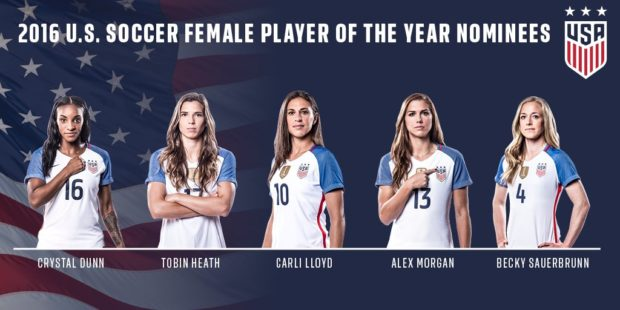The nominees for 2016 U.S. Soccer Female Athlete of the Year (photo: U.S. Soccer)