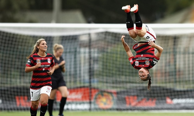 Kendall Fletcher celebrates one of her two goals against Melbourne City in round 7 of the Westfield W-League (photo courtesy of Western Sydney Wanderers FC Twitter)