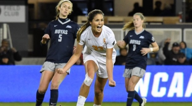Katie Johnson celebrates her semifinal-winning goal against Georgetown University. (photo courtesy USC)
