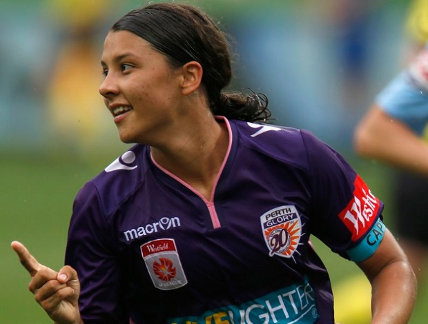 Sam Kerr celebrates a goal in Perth Glory's 3-2 win over Melbourne City. (photo by Perth Glory)