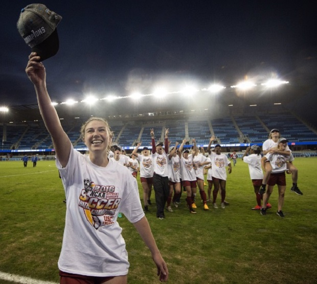 Morgan Andrews salutes the crowd after the final whistle (photo courtesy NCAA Soccer Twitter)