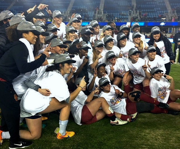 USC Trojans celebrate their College Cup win. (photo courtesy USC Women's Soccer Twitter)