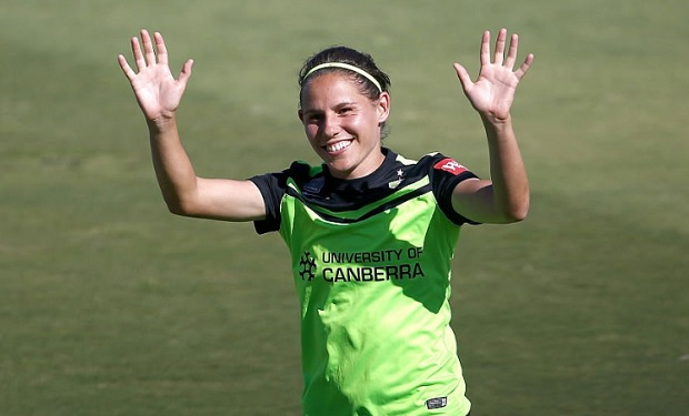 Ashleigh Sykes scored four goals in Canberra United's 7-2 win over Perth Glory. (photo courtesy Canberra United)