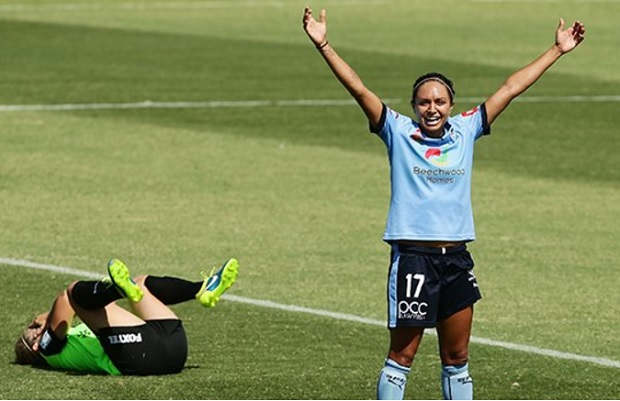 Kyah Simon of Sydney FC celebrates a goal over Canberra United. (photo courtesy of Sydney FC)