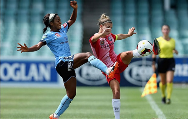 Francisca Ordega and Steph Catley battle for the ball in this weekend's rematch of the 2016 Grand Final. (photo courtesy Sydney FC)