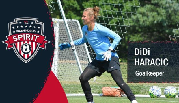 DiDi Haracic, who set a league record facing three penalties in her only NWSL match three years ago, has a contract with the Washington Spirit (photo: Washington Spirit)