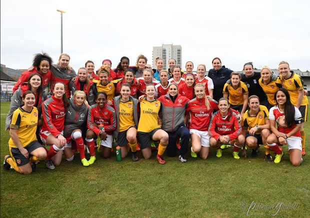 Kelly Smith is surrounded by her Arsenal and All Star teammates at her farewell match. (photo copywright Patti Giobetti for The Equalizer)