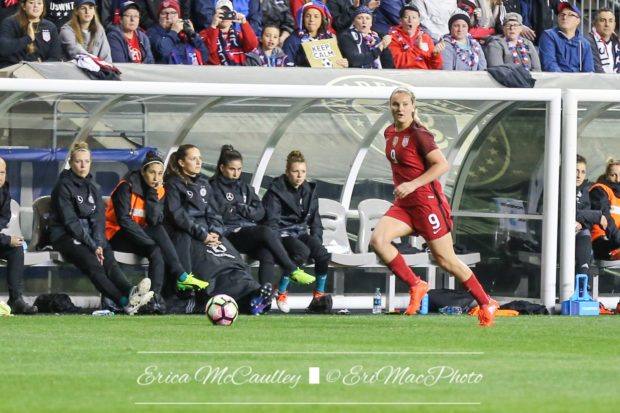 Lindsey Horan has a hip strain and will not go to camp with the US or play against Russia (photo copyright EriMac Photo for The Equalizer)