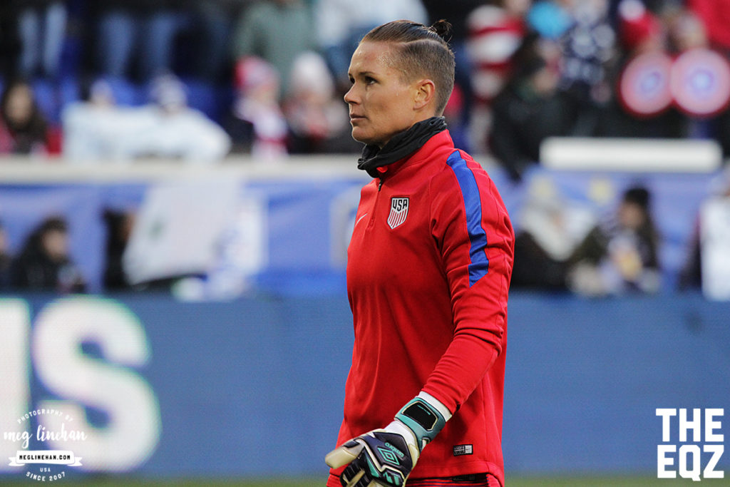 Ashlyn Harris during warm-ups at Red Bull Arena. (MEG LINEHAN/Equalizer Soccer)