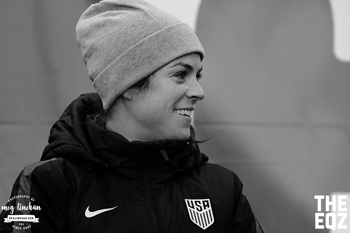 Kelley O'Hara did not dress for the match against England due to carrying a minor injury, but she was on the bench. (MEG LINEHAN/Equalizer Soccer)