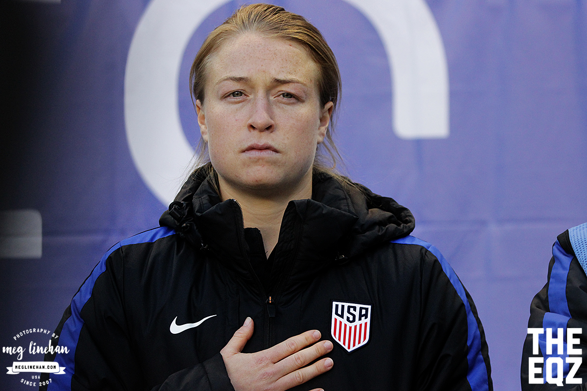 Emily Sonnett stands during the national anthem during the SheBelieves Cup at Red Bull Arena. (MEG LINEHAN/Equalizer Soccer)