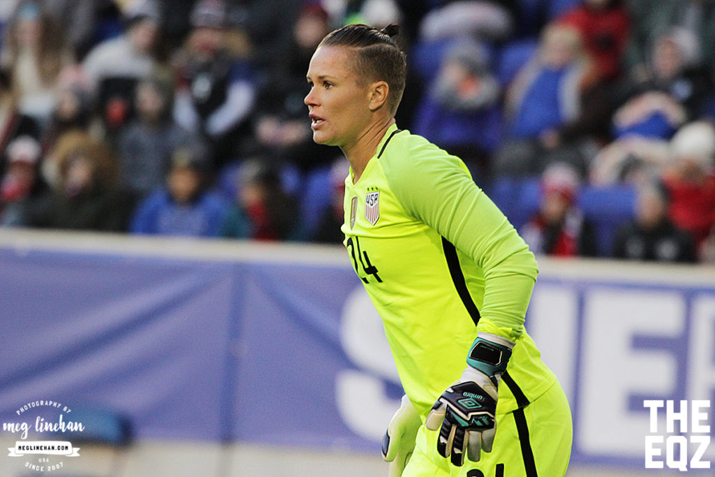 Ashlyn Harris started against England for the SheBelieves Cup at Red Bull Arena. (MEG LINEHAN/Equalizer Soccer)
