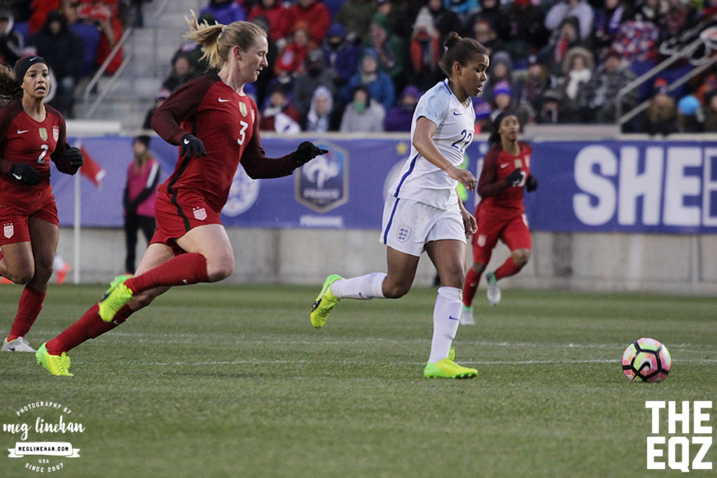 Samantha Mewis tries to close down England's Nikita Parris during the first half. (MEG LINEHAN/Equalizer Soccer)