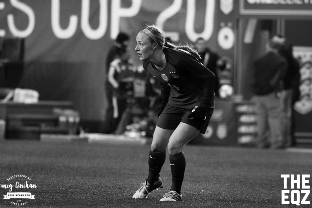 Becky Sauerbrunn keeps a close eye on the England attack during the first half of Saturday's match at Red Bull Arena. (MEG LINEHAN/Equalizer Soccer)