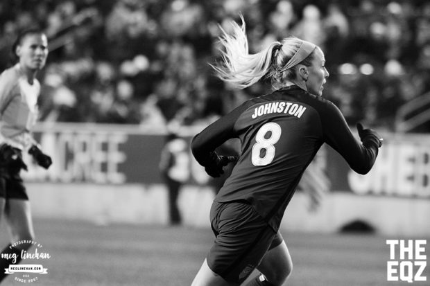 Julie Johnston sprints to cover defense during the first half against England. (MEG LINEHAN/Equalizer Soccer)