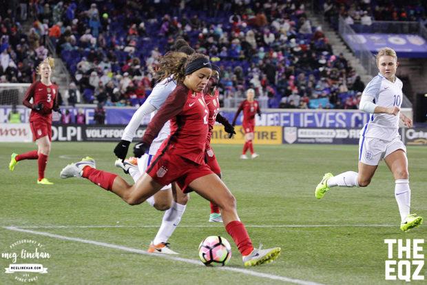 Mallory Pugh beats her defender during the second half against England. (MEG LINEHAN/Equalizer Soccer)