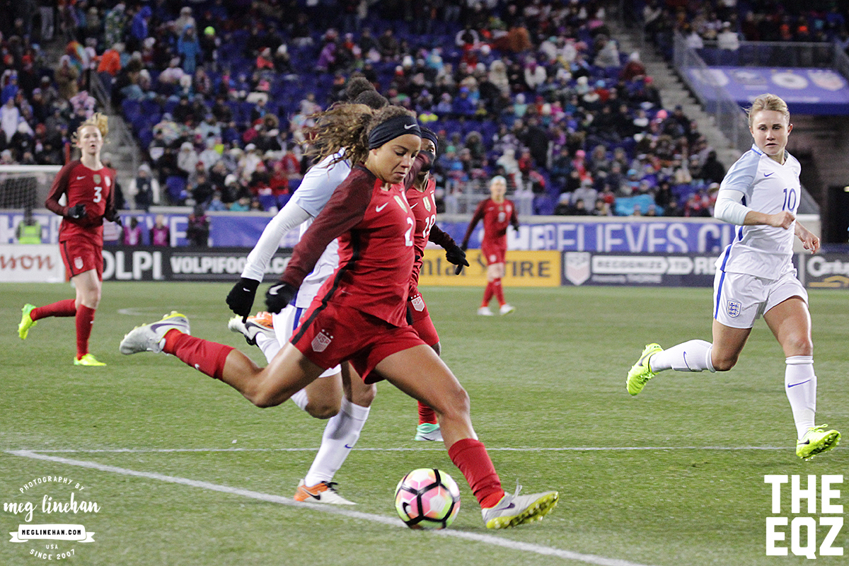 Mallory Pugh beats her defender during the second half against England. (MEG LINEHAN/Equalizer Soccer)