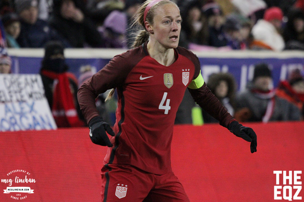Becky Sauerbrunn wears the captain armband after Carli Lloyd was subbed off in the second half. (MEG LINEHAN/Equalizer Soccer)