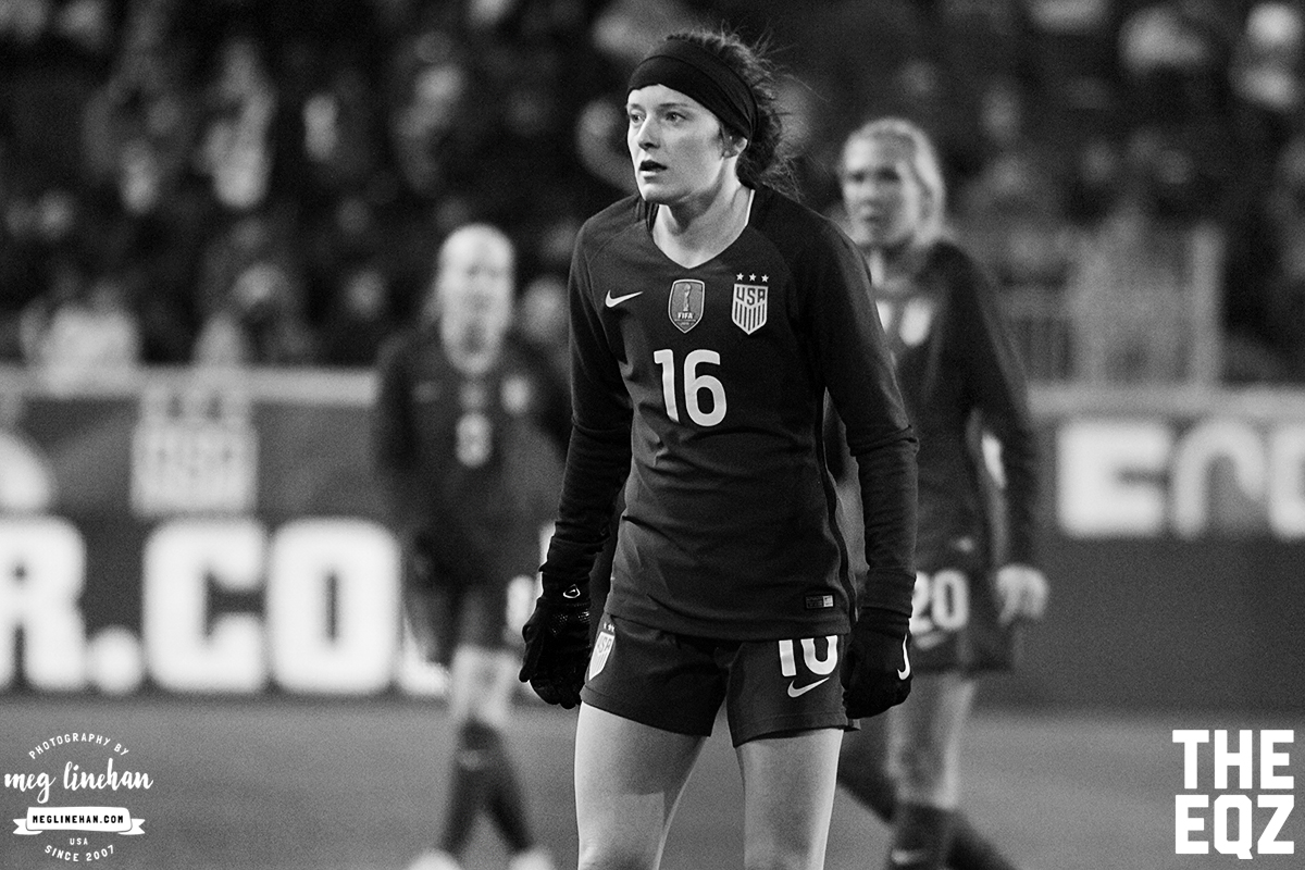 Rose Lavelle waits for a throw-in during the second half against England. (MEG LINEHAN/Equalizer Soccer)