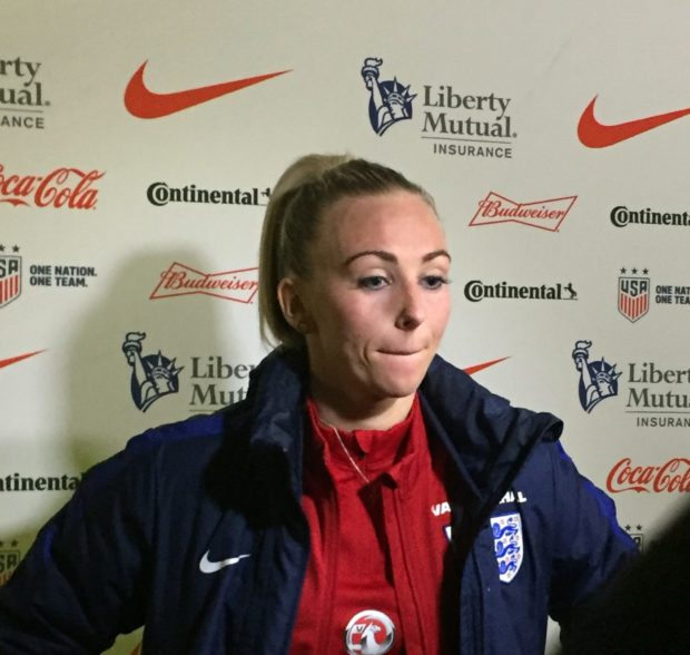 Toni Duggan missed a chance to go top of the SheBelieves table in a tournament-closing loss to Germany (photo copyright Harjeet Johal for The Equalizer)