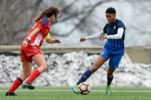Maya Hayes opened up scoring in Sky Blue FC's 3-1 preseason win over St. John's University. (photo by Dennis Schneidler, DBJ Sports)