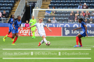 Jordan Nobbs put England up in the first half, but the Lionesses couldn't maintain the lead. (photo copywright EriMac Photo for The Equalizer)