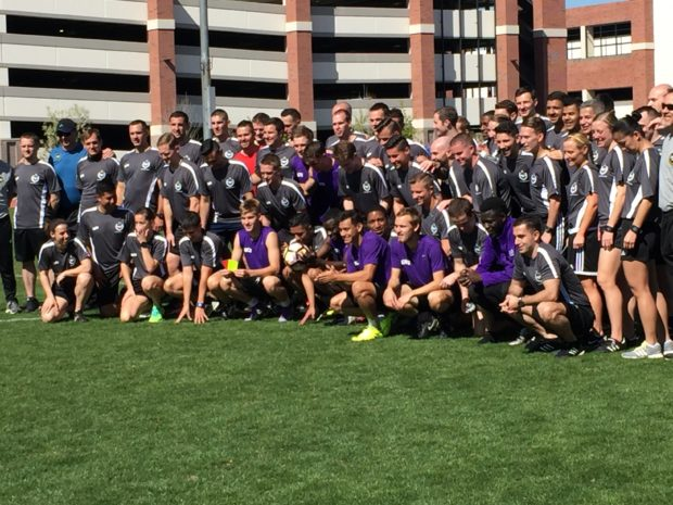 The PRO referees and ARs with members of the Grand Canyon University men's soccer team (in purple) following field session in Phoenix (photo: Dan Lauletta for The Equalizer)