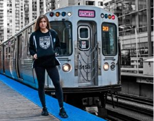 Sofia Huerta models clothing from the Red Stars' new #MKOT merchandise line. (photo courtesy of Chicago Red Stars)