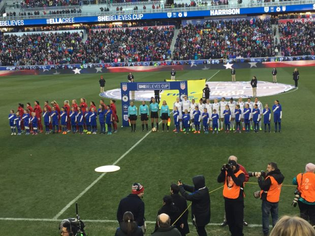 The USWNT and England line up before England's 1-0 win, its first ever against the U.S. on American soil.