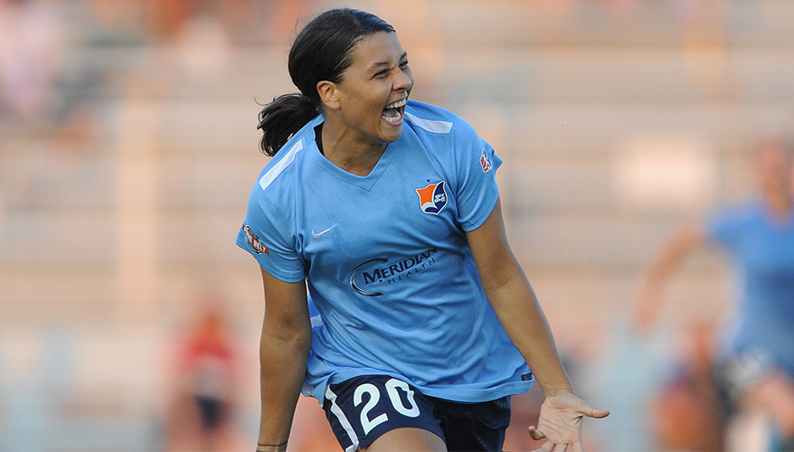 Sam Kerr scored two goals and added one assist in Sky Blue's 3-1 victory over the Portland Thorns this past weekend (photo courtesy of Sky Blue)