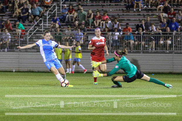 Stephanie Labbe dives to stop Kealia Ohai from getting a shot off on goal. (photo copyright EriMac Photo for The Equalizer)