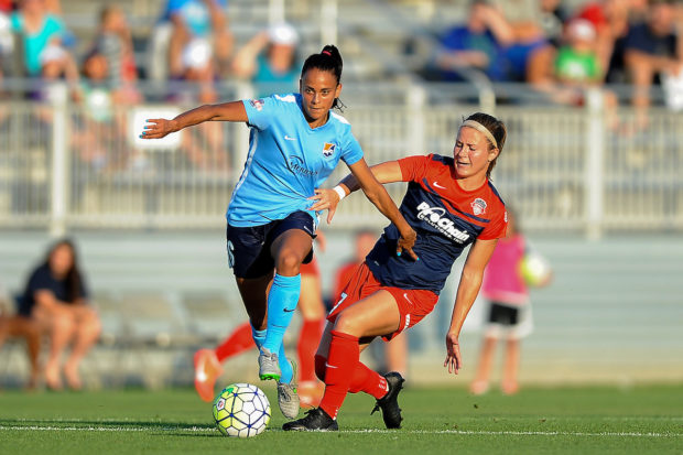 Taylor Lytle and Sky Blue FC kick off NWSL play in Seattle on Saturday, April 15 (photo courtesy of ISI Photos and Sky Blue)