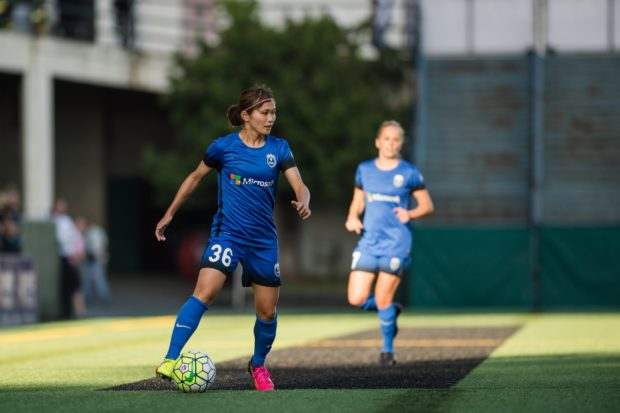Seattle, Washington - Saturday, July 2nd, 2016: Seattle Reign FC forward Nahomi Kawasumi (36) during a regular season National Women's Soccer League (NWSL) match between the Seattle Reign FC and the Boston Breakers at Memorial Stadium. Seattle won 2-0. (ISI Photo)