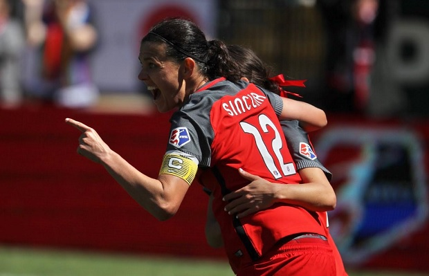 Christine Sinclair celebrates with Hayley Raso after scoring in the Thorns' season opener. (photo courtesy Portland Thorns)