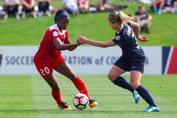 McCall Zerboni, right, battles with Cheyna Williams on Saturday. Zerboni scored the only goal of the day. Williams left with an injury. (photo courtesy: North Carolina Courage)