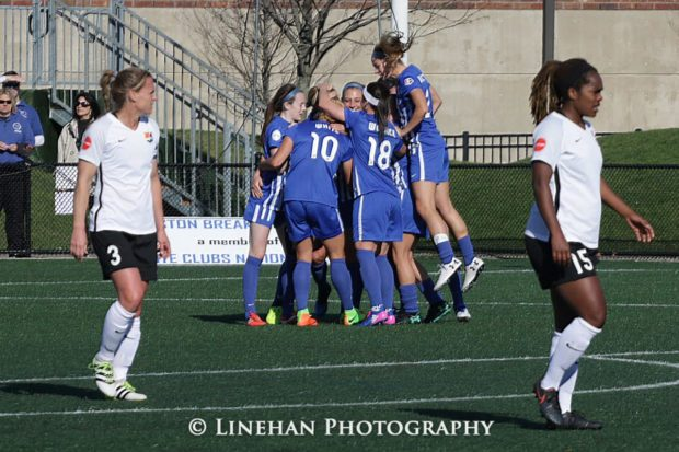 The Boston Breakers celebrate Natasha Dowie's first half strike against Sky Blue FC. (LINEHAN PHOTOGRAPHY/Equalizer Soccer)