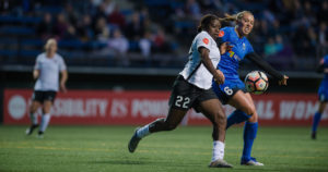 Mandy Freeman and Lindsay Elston battle for possession in Seattle and Sky Blue's 1-1 draw. (photo by Jane Gershovich, ISI Photo)