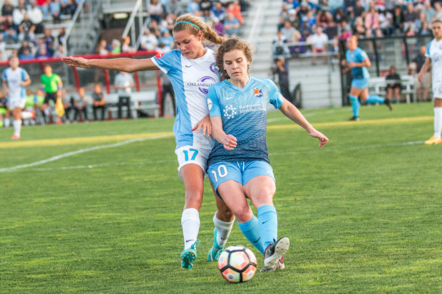 Dani Weatherholt, left, is one of seven NWSL players called up to the U-23 WNT. (photo copyright Katie Cahalin for The Equalizer)