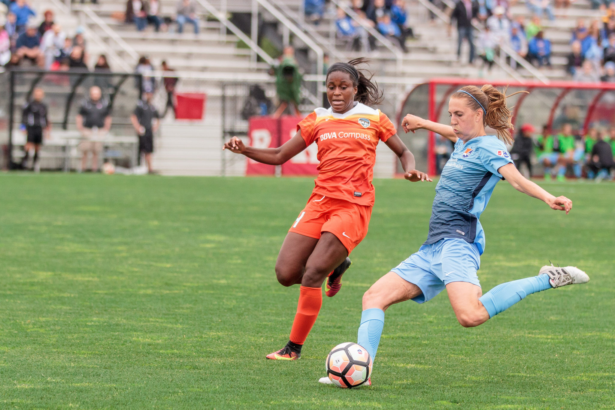Sarah Killion, right, battled with Nichelle Prince--photo copyright Katie Cahalin for The Equalizer