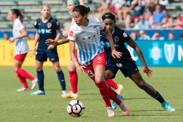 Christen Press tries to get past Jess McDonald during a match between the NC Courage and the Chicago Red Stars in Cary, NC in Week 6 of the 2017 NWSL season. (photo copyright to by Lewis Gettier)