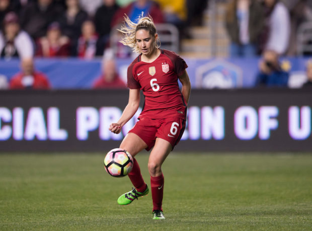 Morgan Brian won't travel to Europe with the United States after her hamstring tightened up playing for the Dash over the weekend. (photo:  U..S. Soccer)