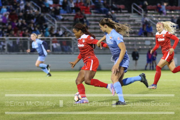 Sky Blue was a half step behind Francisca Ordega all night, who locked in two goals and one assist (photo copyright EriMac Photo for The Equalizer)