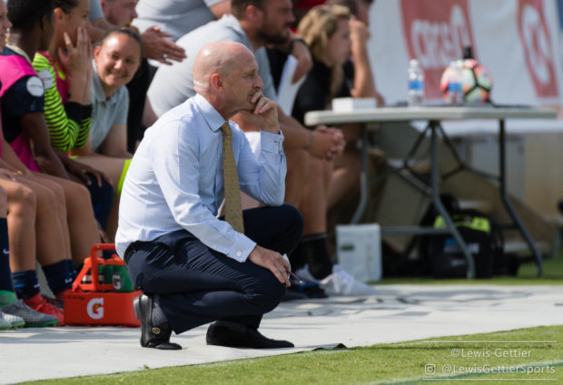 NC Courage head coach Paul Riley during a match between the NC Courage and the Chicago Red Stars in Cary, NC in Week 6 of the 2017 NWSL season. Photo by Lewis Gettier.