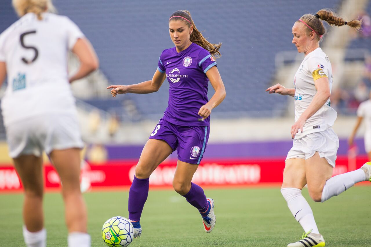 Alex Morgan scored her only goal so far for the Pride this year towards the end of June. (photo by Mark Thor, courtesy of Orlando Pride)