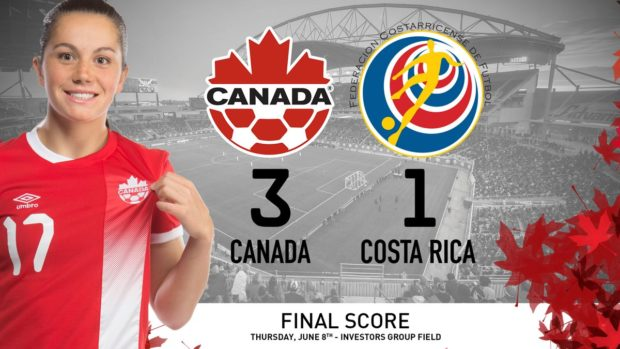 Canada made a winning start to a two-match series against Costa Rica.